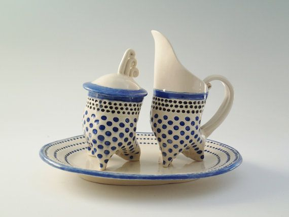 retro ceramic coffee set sugar bowl and cream pitcher with serving tray in red polka dots blue. Black Bedroom Furniture Sets. Home Design Ideas