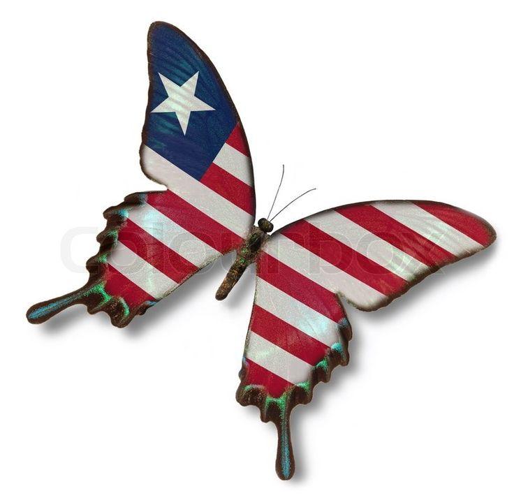 Liberia flag on butterfly   Stock Photo   Colourbox