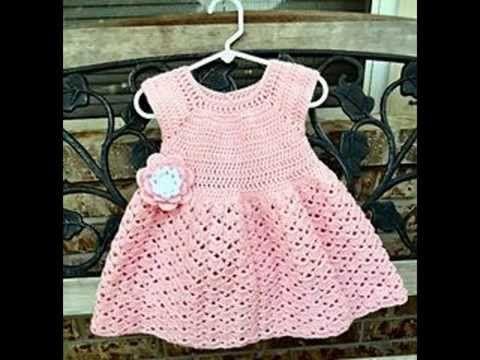 Vestido para bebé tejido a crochet - YouTube