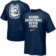 Nike UCONN Huskies Basketball Never Stops T-Shirt - Navy Blue