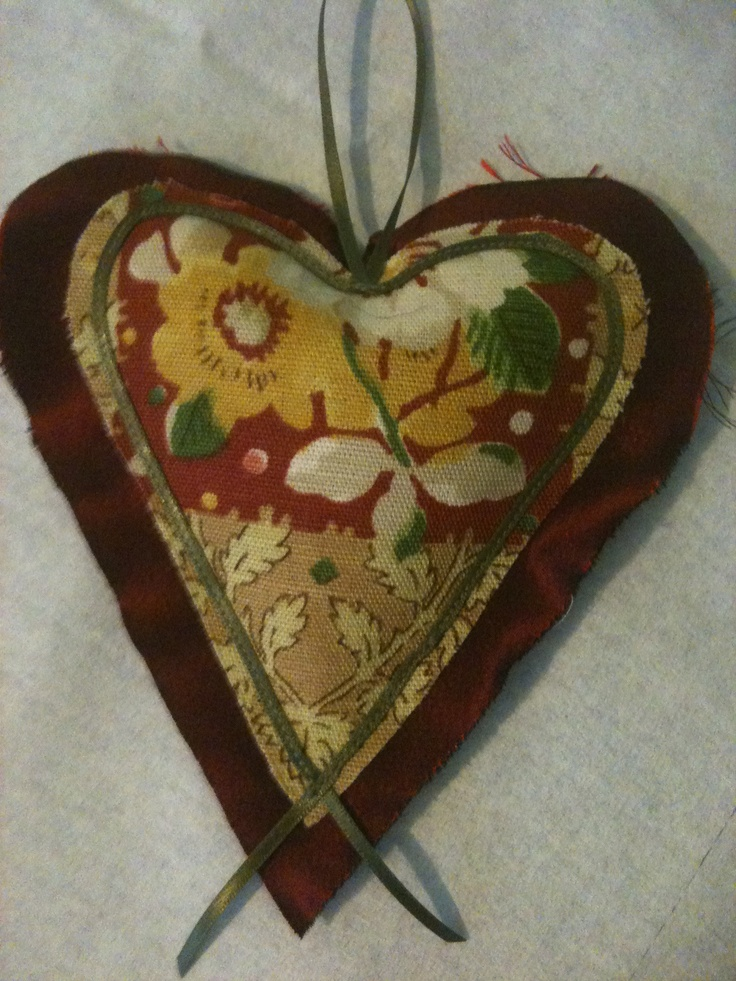 Dark Red Floral and Gold Lavender Heart
