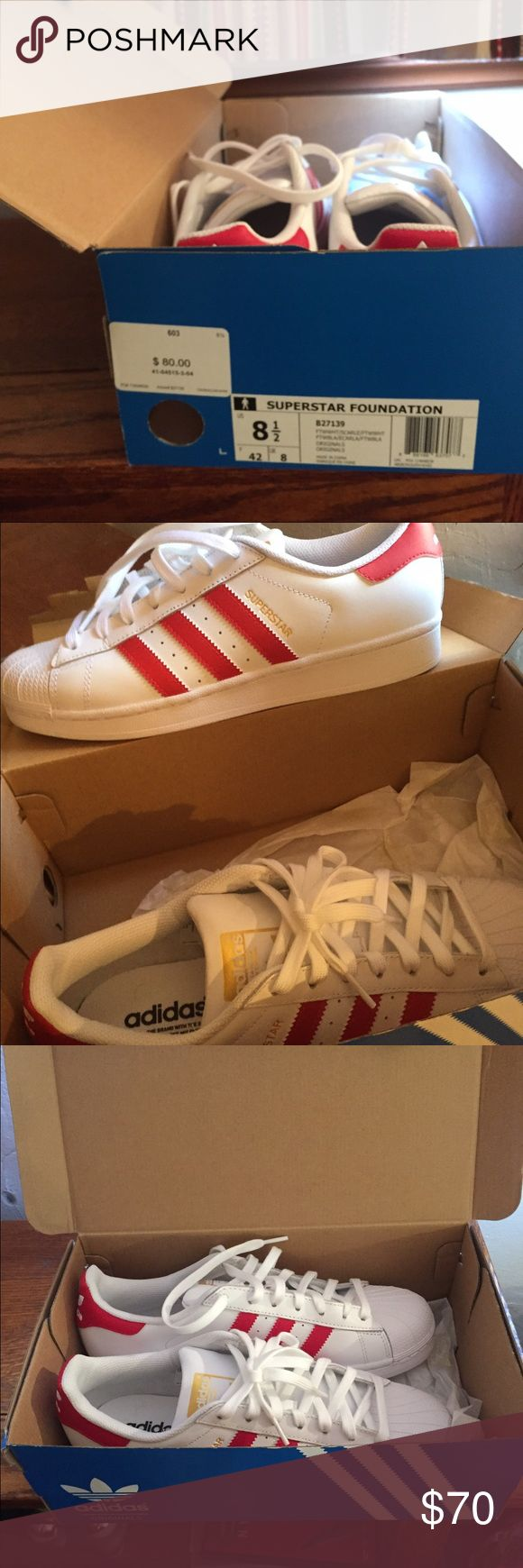 Adidas Superstars White w/ red stripes. Brand new out the box. adidas Shoes Sneakers