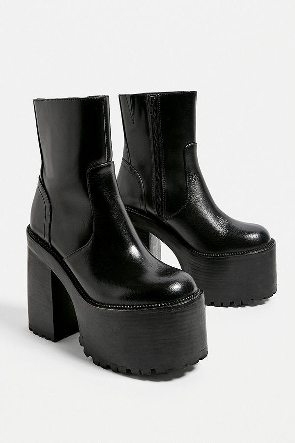 Boots, Platform boots, Black leather