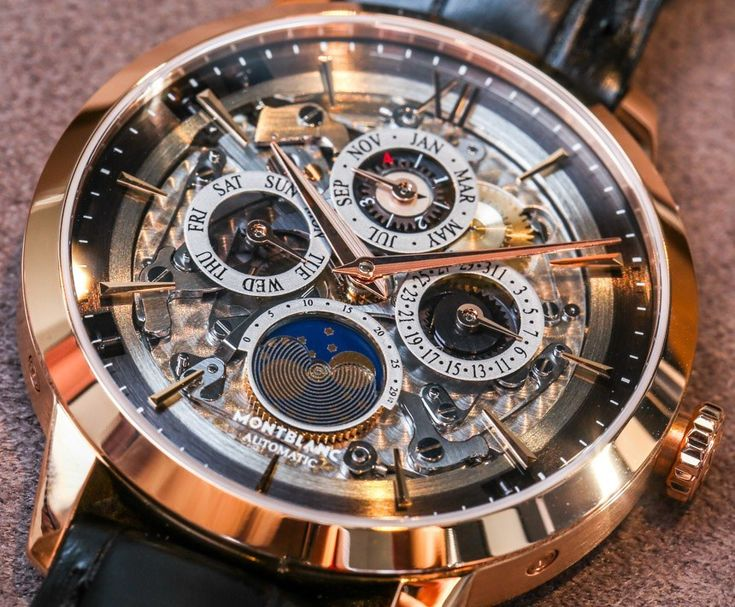 Hands-on review & original photos of the Montblanc Heritage Spirit Perpetual Calendar Skeleton Sapphire Dial watch with price & analysis.