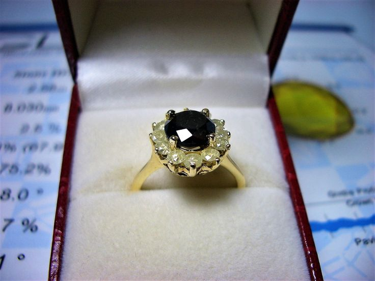 Black diamond ring, 3,78 total carat weight, size 7 3/4, 14 kt yellow gold, new, GLA-GIA certificate by AntiqueBoutiqueZ on Etsy