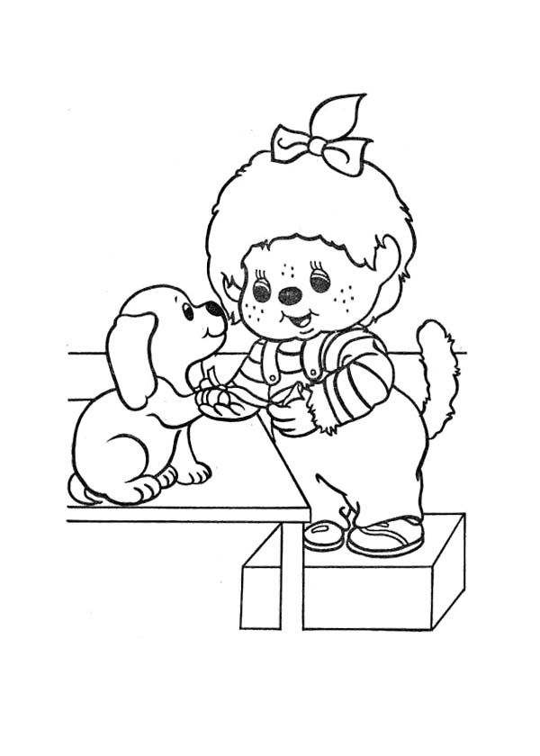 Monchichi And Dog Coloring Page Kids Coloring Pages