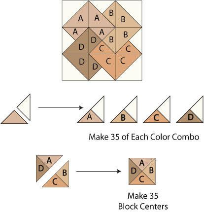 Card trick quilt block.  This is a neat block!