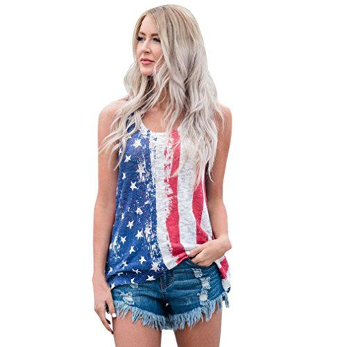 Women Casual Top,Napoo American Flag Printed Tank Crop Tops Stars Vest for 4th of July  ❦Gender:Women,Teens Girl ❦Material:Polyester fiberd  ❦Occasion:Daily,Casual ❦Sleeve Style:Sleeveless  ❦Collar:Round neck ❦Pattern Type:Stars,American Flag  ❦Asian Size,pls choose size up ❦Package include:1PC Women Tops  halter crop top ladies vest tank top tank vest jacket ladies puffer vest white halter crop top dress vest crop white bustier crop top black vest down vest black vest womens vest tops...