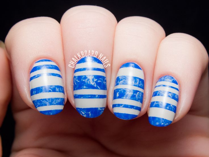 478 best intermediate nail art ideas images on pinterest art marbled blue swimming pool stripes prinsesfo Image collections