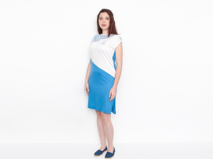 from blessthatdress @etsy - Dead Stock vintage Dress blue and white beachwear summer tshirt dress