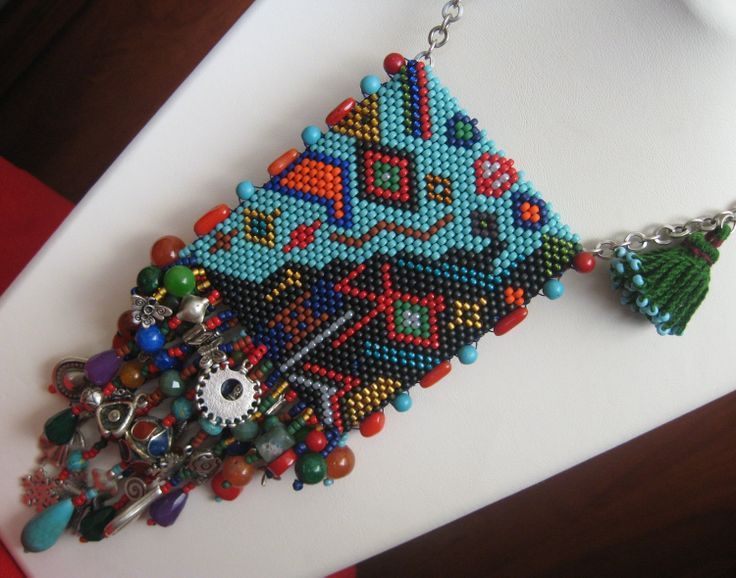 authentic peyote necklace with natural stones by incim on Etsy