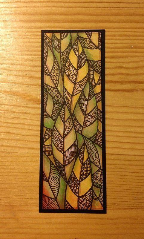 Zentangled Leaves Bookmark: