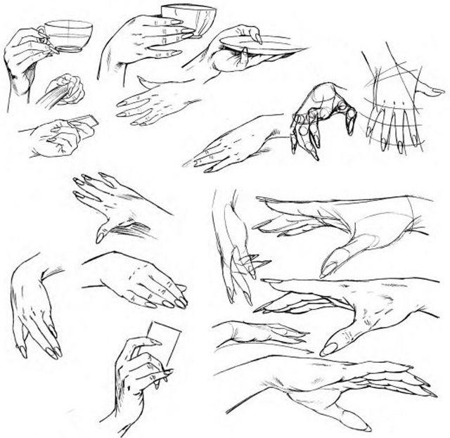 dibujar las manos sosteniendo objetos
