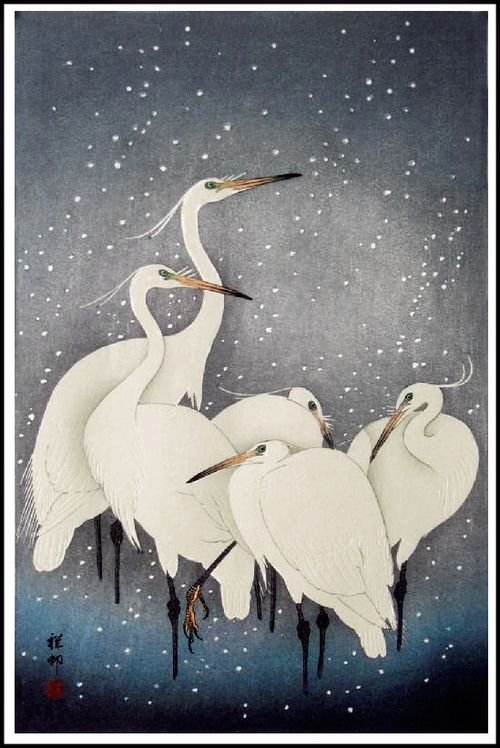 'Egrets on a Snowy Night' (1927) by Koson Ohara / Ohara Koson (by Plum leaves)