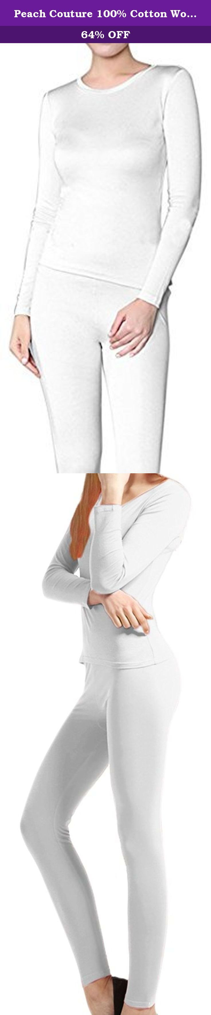 Peach Couture 100% Cotton Womens 2 Pc Long John Thermal Pajamas -Top & Bottom (XL, White). Peach Couture's Jersey Knit 2 Piece 100% Cotton Pajama/Underwear Set are a must have this winter, whether you're curled up on the couch drinking hot chocolate, racing down a mountain on your snowboard, or are out and about doing some holiday shopping. Their effective (Whatever knit pattern) design will keep you toasty. They will fit easily underneath your clothes for a comfortable added layer of…