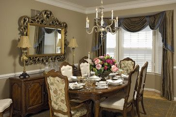 beautiful - great idea for window treatment in d.r......  traditional dining room by Paula Grace Designs, Inc.