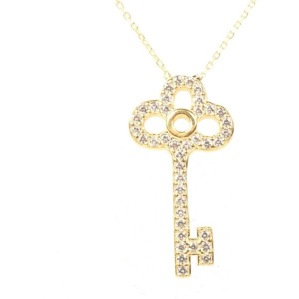 Latelita London - Key Necklace Gold (£26) ❤ liked on Polyvore featuring jewelry, necklaces, white gold jewellery, white gold necklace, yellow gold initial necklace, birthday necklace and gold initial necklace