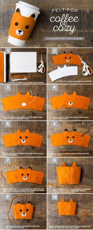 DIY Hand-Stitched Felt Fox Coffee Sleeves from www.liagriffith.com