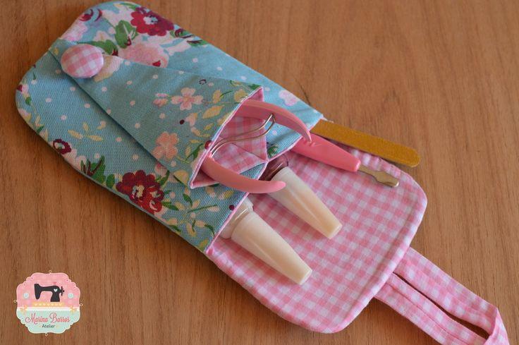 Porta Kit Manicure Floral | Marina Barros Atelier | Elo7