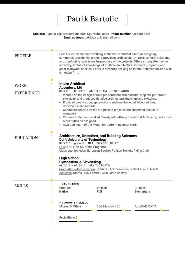 Architectural Resume For Internship 2021 Architecture Resume Architecture Student Resume