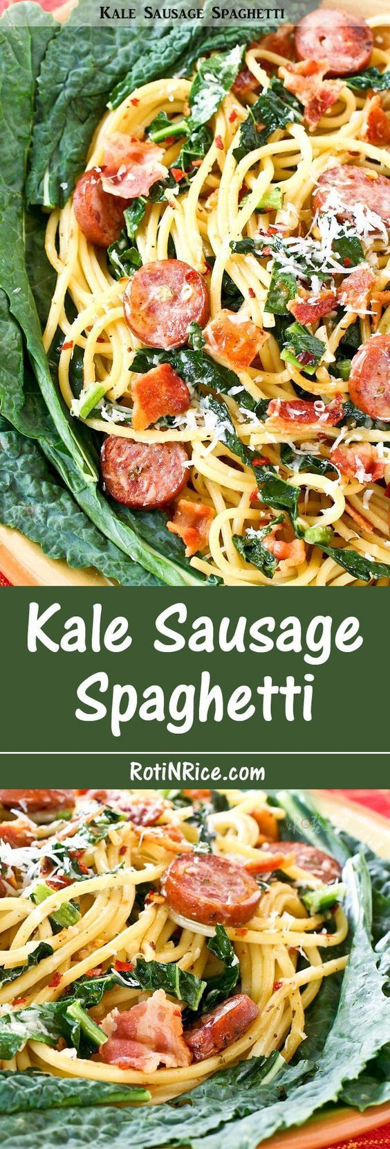 Kale Sausage Spaghetti - a pasta with bold flavors combining Polish sausage, earthy kale, spicy red pepper flakes, garlic, and bacon.   http://RotiNRice.com