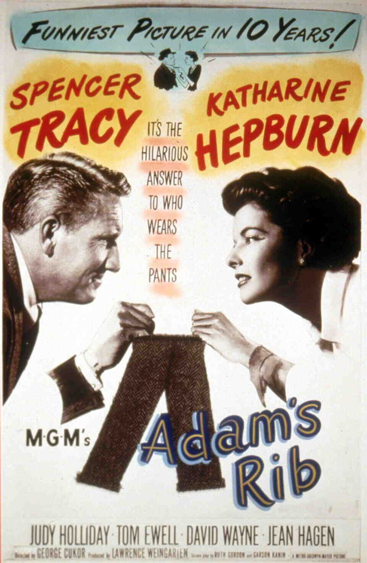 One-sheet poster featuring Spencer Tracy as Adam Bonner and Katharine Hepburn as Amanda Bonner, Adam's Rib, 1949