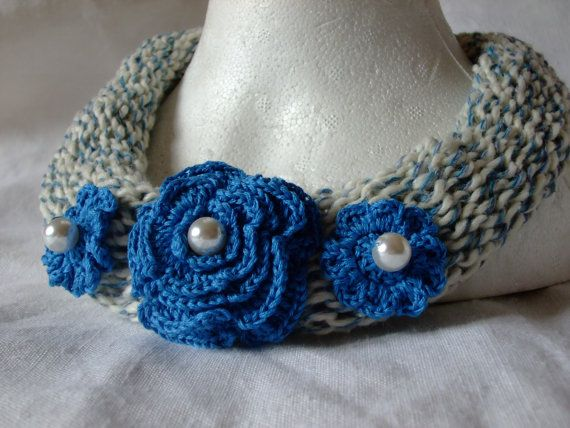 Necklace-cream-blu-cotton-knitted-blue by megghyshop on Etsy