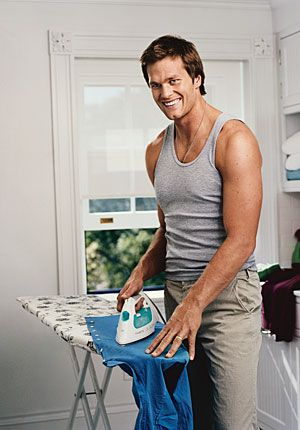 Tom. Whether he's ironing, wearing Uggs, or throwing a football, he's still the epitome of masculinity.