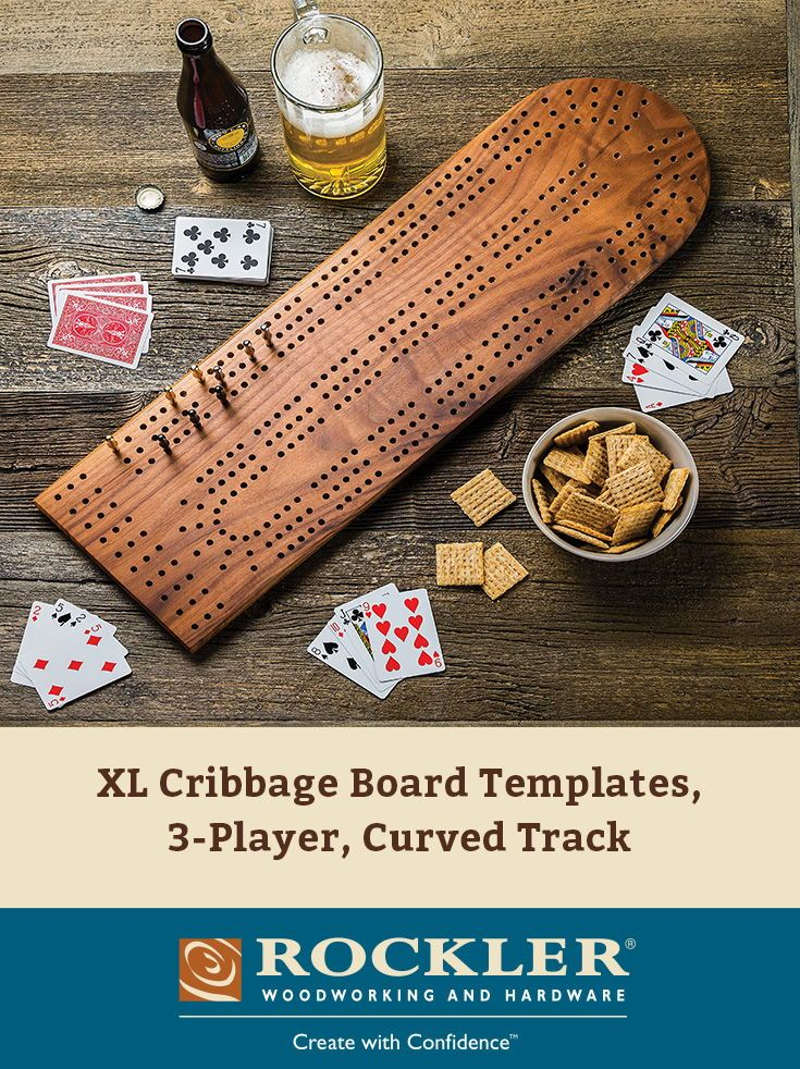 3 TRACKS INCLUDING PEGS AUTHENTIC LARGE WOODEN CRIBBAGE BOARD
