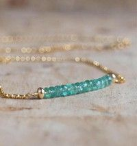 Emerald Necklace in Silver or Gold Zambian Emerald Bar Necklace May Birthstone Real Emerald Jeweller