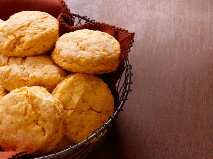 Fluffy Sweet-Potato Biscuits recipe from Paula Deen via Food Network. Split in half, butter & drizzle honey.