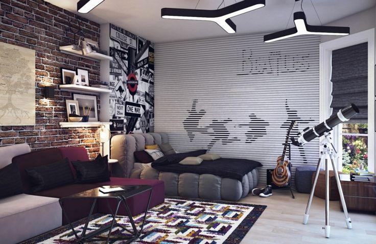 dormitorio chico joven pared ladrillo alfombra preciosa ideas