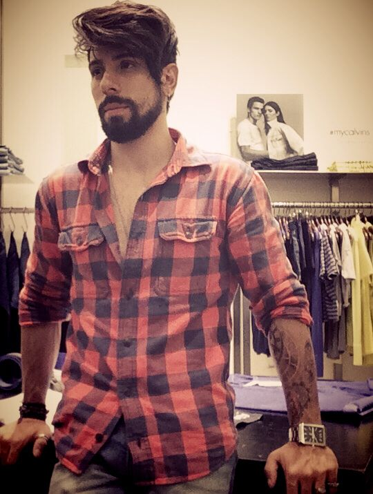 beard and model and tattoos