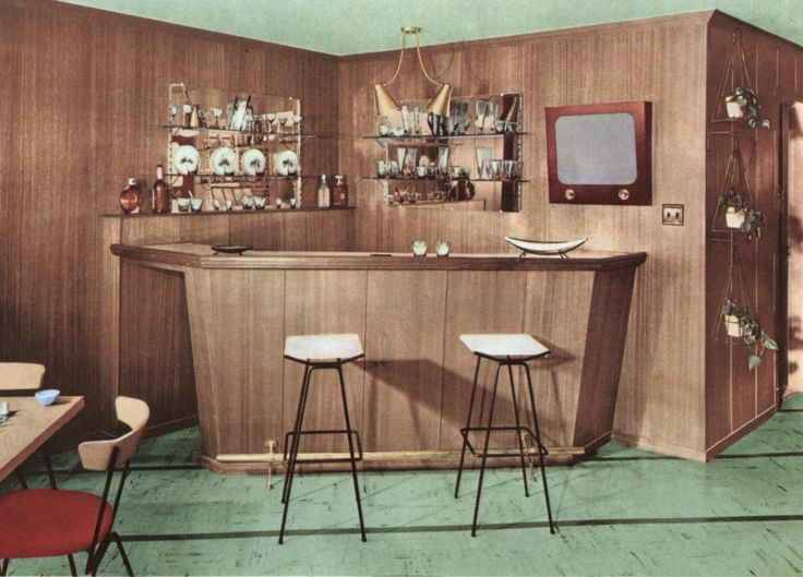 406 best 1950s living room images on pinterest vintage for Retro basement ideas