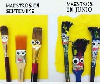 Teachers in September and teachers in June!  #jokes #spanish #teacherfollowteachers #spanishteacher #endofschoolyear