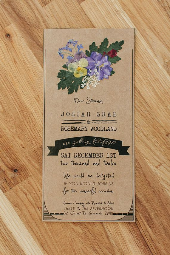 Handmade Pressed Flower Wedding Invitations by FoxandFoal on Etsy, $5.95