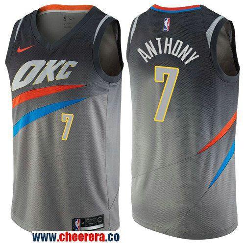 new concept f44fb 16298 Men's Nike Oklahoma City Thunder #7 Carmelo Anthony Gray NBA ...