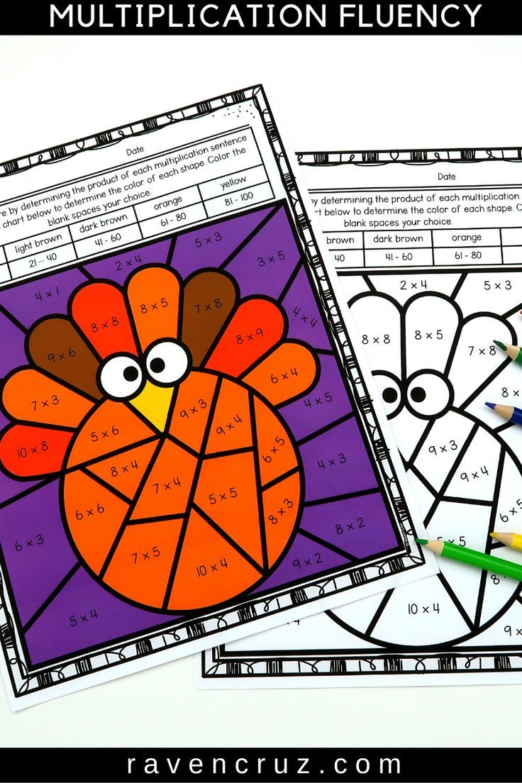 Thanksgiving Math Multiplication Color by Number