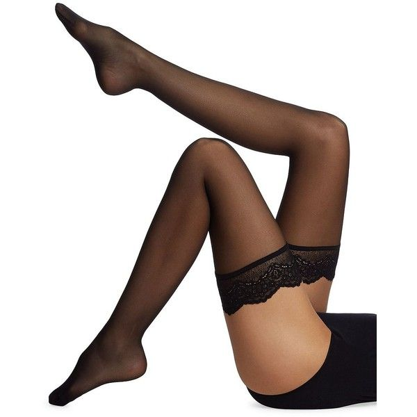 Wolford Women's Lace Stay-Up Tights (320 RON) ❤ liked on Polyvore featuring intimates, hosiery, tights, black black, lingerie - wolford hosiery, lace lingerie, wolford, pantyhose stockings, wolford lingerie and lacy lingerie