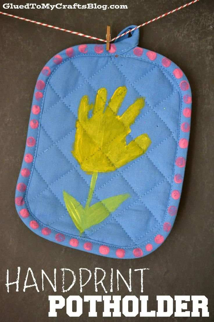 Handprint Potholder. We made these for mother's day. All the mommies loved them to pieces! Dollar Tree has 2 packs of potholders for $1.