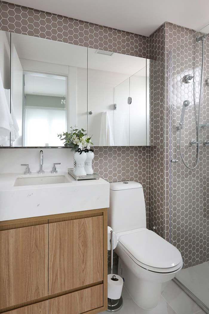 Banheiro Pequeno Com Decoracao Neutra Bancada Branca Cuba De