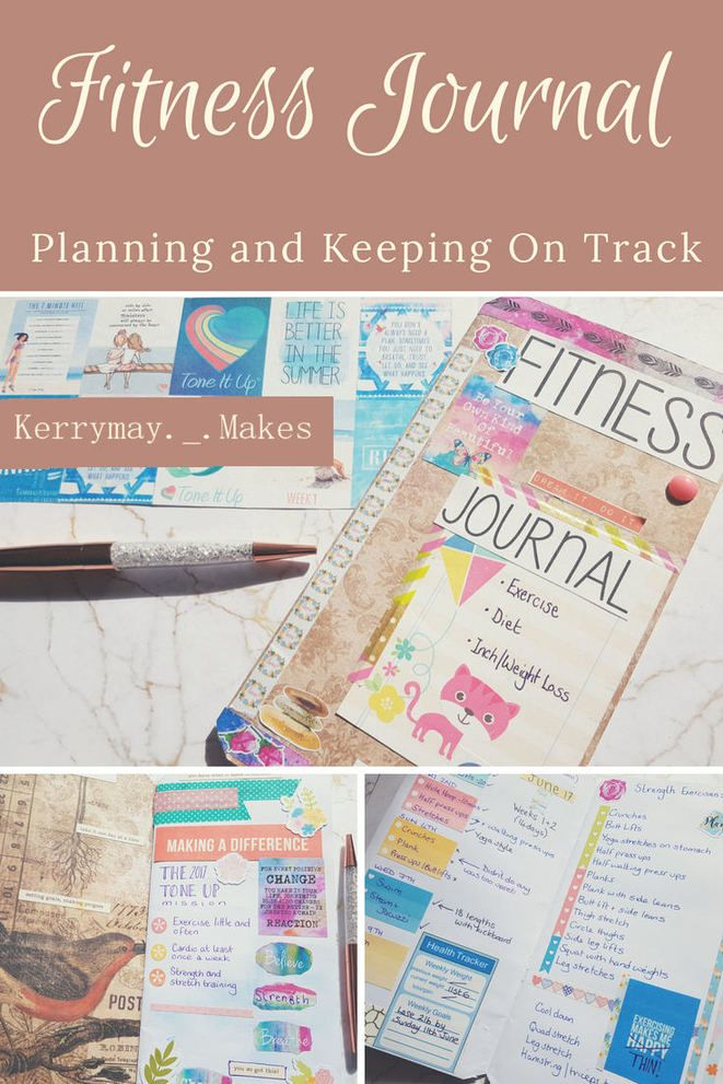 Fitness Planner and weight loss journal set up and how I track my Weekly and Monthly fitness and weight goals in my journal pages. ©Kerrymay._.Makes