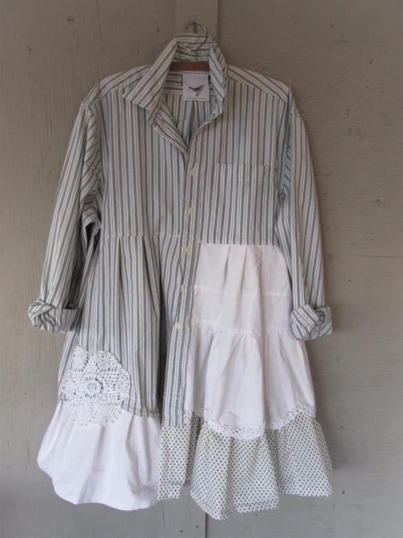 RESERVED ............ sold to Mary  $89.50  second of 4 payments $ 22.25  Balance owing $45                                    upcycled cotton dress Patchwork clothing prairie tunic shirt oversize top Boho plus size smock X L 1 X 2 X Artsy Eco by LillieNoraDryGoods  Casual, comfy, cotton smock/tunic/dress.  Rustic oversize style for work or play, perfect for layering  - Uniquely restyled cotton shirt - added repurposed and recycled cotton pieces to the bottom - vintage handmade doil...