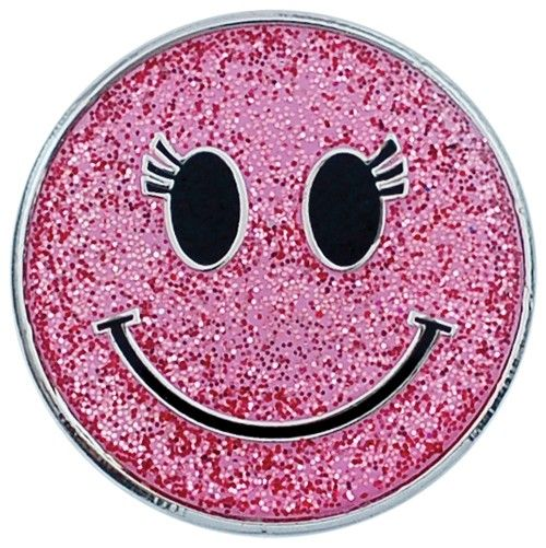 sparkley smiley faces | Sparkly Pink Smiley Face Ball Marker