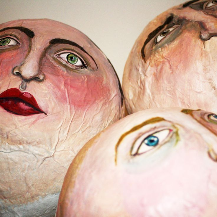 "{Fairy Tale Faces | Layla Holzer & Spike Dennis 2012} possible AP exploration ""inflated egos"" painted faces (self-portraits?) on paper mache heads made from balloons"