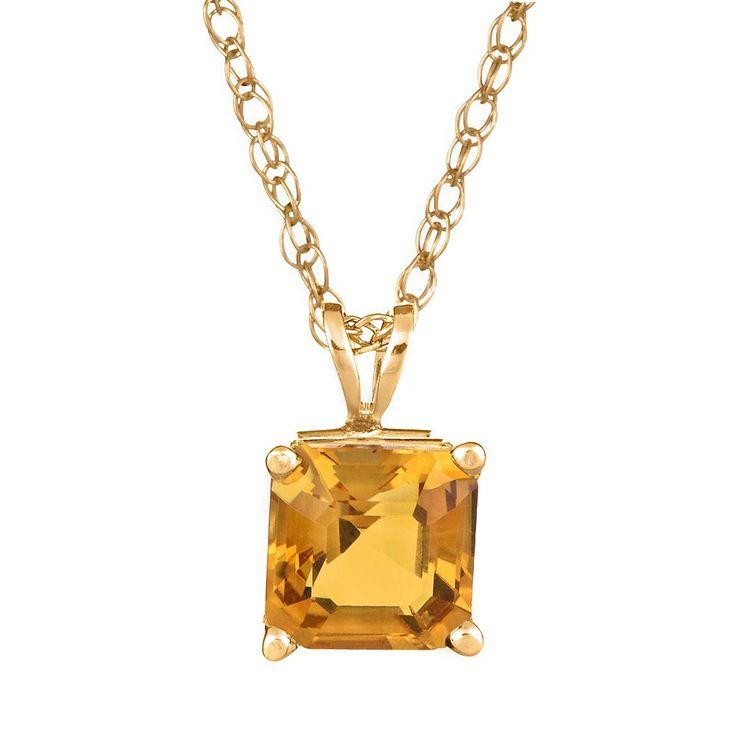 "14k Gold Citrine Pendant, Women's, Size: 18"", Orange"