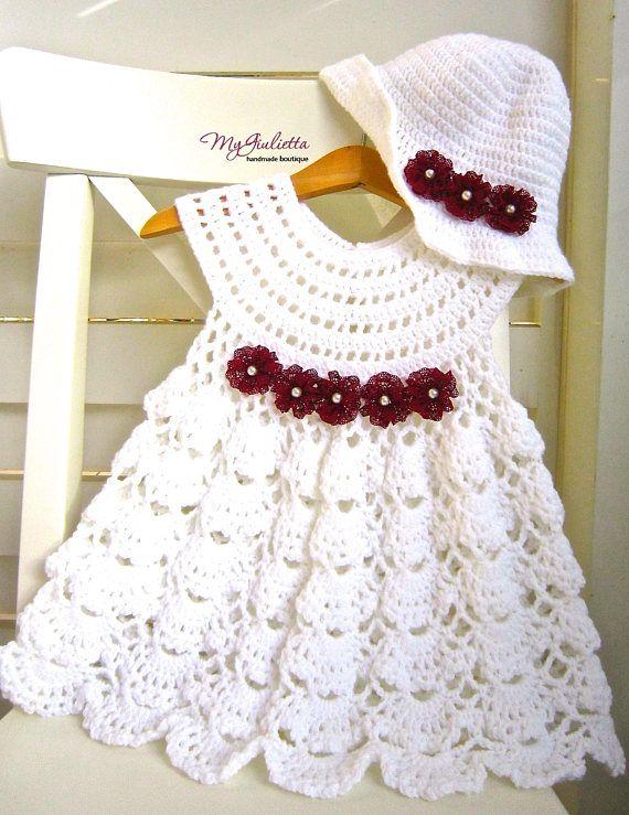 Crochet Baby Dress, Crochet Baby Skirt, Communion Set, Cute Dress ...