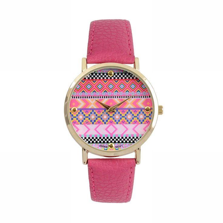 Journee Collection Women's Tribal Watch, Pink