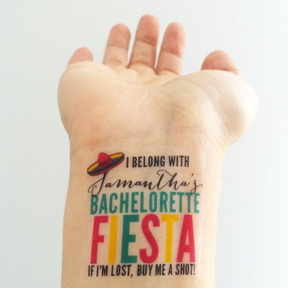 15 Custom Bachelorette Party Temporary Tattoos - Fiesta!