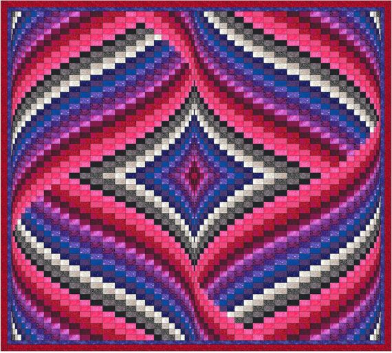 Diamond and Ribbons Bargello Quilt Pattern by QuiltingJays on Etsy                                                                                                                                                      More
